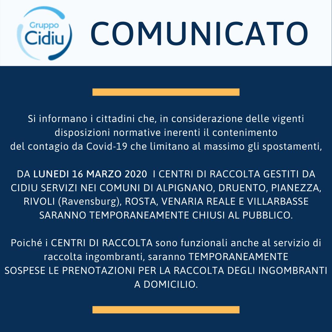 Comunicato chiusura ecocentri